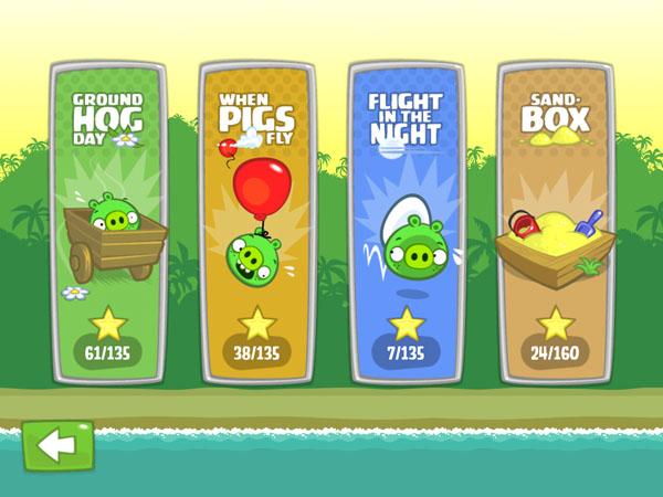 меню для игры Bad Piggies
